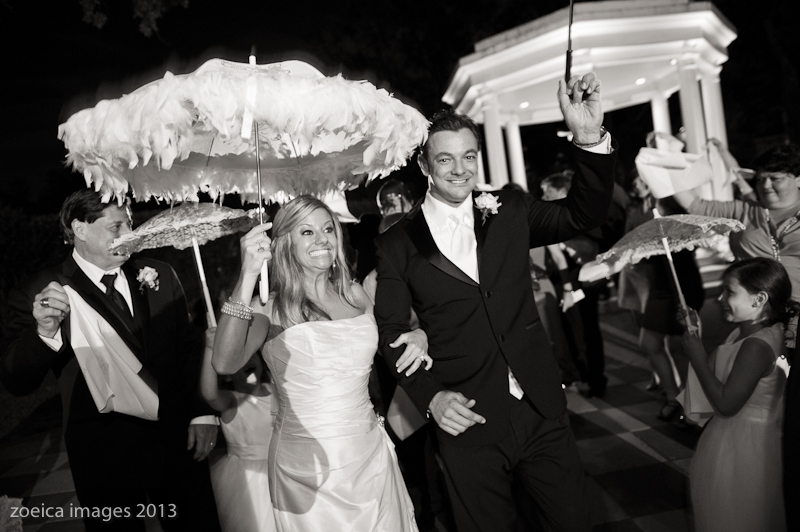 bride and groom second line new orleans wedding