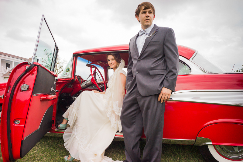 bride and groom in 1957 chevy