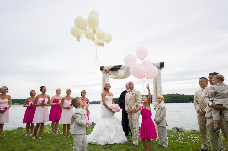ceremony balloon release wedding photography