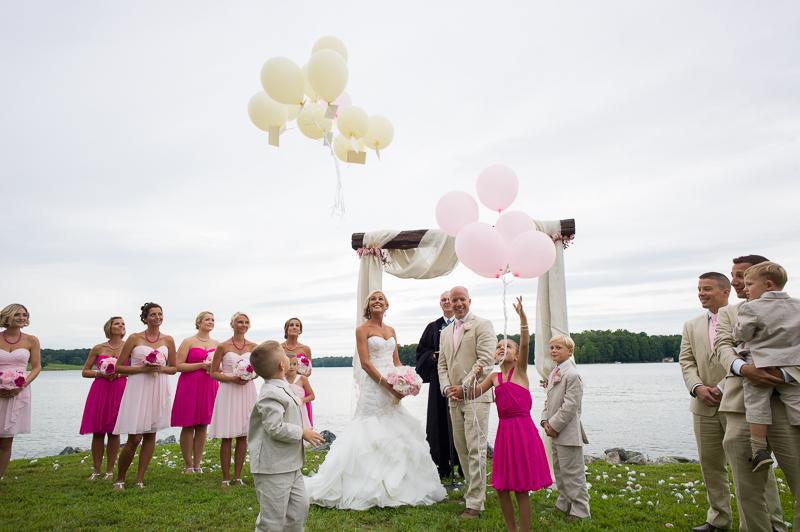 ceremony balloon release wedding photography
